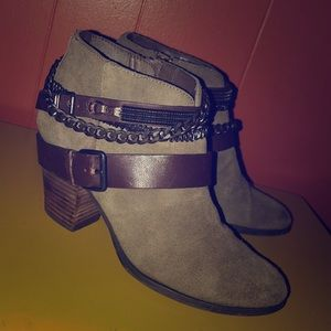 TROUVE Bristol Olive Green Suede Ankle Boots